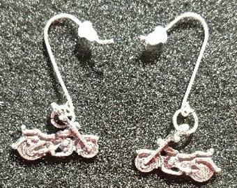 Sterling Silver Motorcycle Earrings