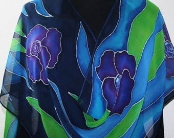 Purple, Blue, Green Silk Scarf Hand Painted Chiffon Silk Shawl PURPLE BOUQUET, in 2 SIZES. Handmade Birthday Gift, Gift-Wrapped