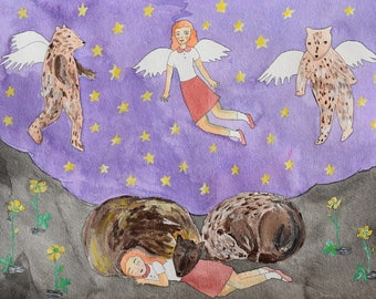 Annabelle Shares a Dream with the Hibernating Bears original art illustration