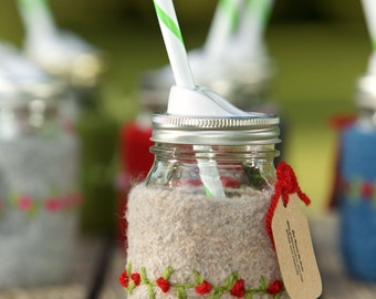 Pint size Felted wool mason jar cozy set oatmeal with red flowers