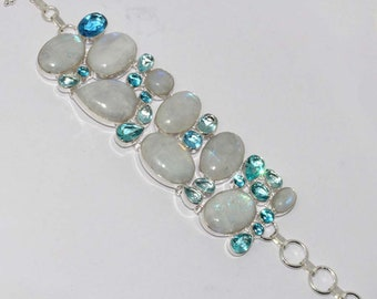 Rainbow Moonstone ,  Blue Topaz Quartz  Handmade 925 Silver Plated Cluster Bracelet