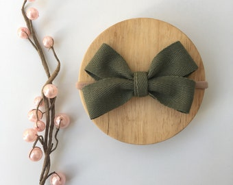Baby and girls khaki olive green cotton double boutique bow  nylon headbands or hair clip