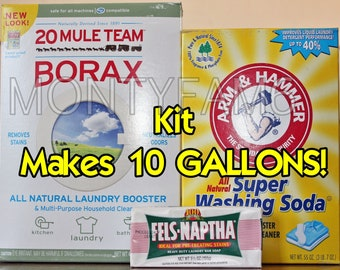 10 GAL Kit Fels Naptha Washing Soda Borax Homemade Laundry Soap / Detergent