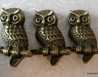 3 22x15mm Bronze Tone Owl Metal Shank Buttons