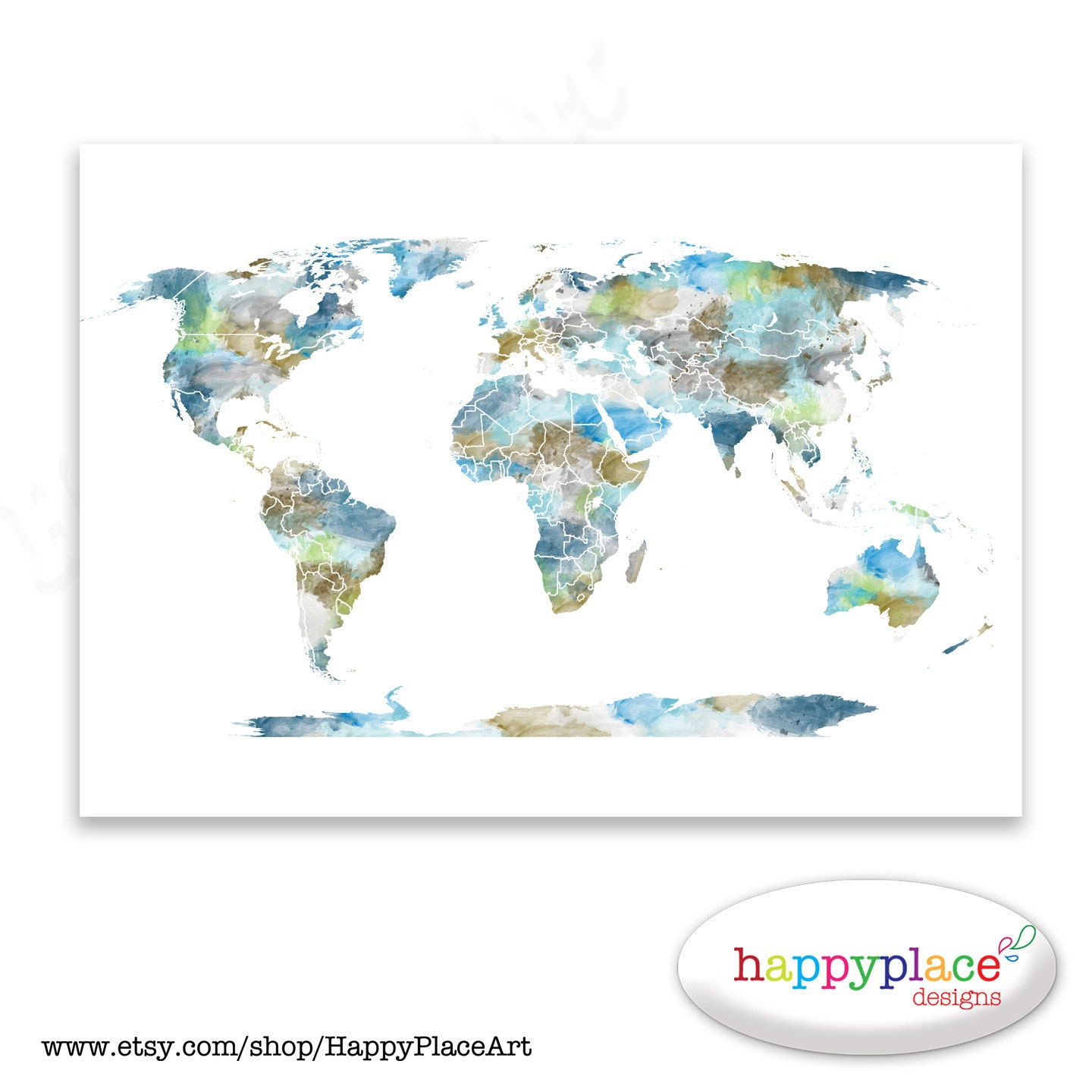 Watercolour world map poster large world map with watercolor zoom gumiabroncs Images