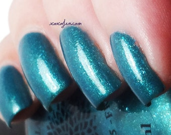 Shimmer Teal with Blue Flakies Nail Polish -- SXSW Fever by Black Dahlia Lacquer