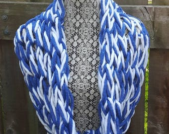 Scarf, Shall, Blue and White Scarf, White and Blue Scarf, Winter Scarf, Accessory, Hand Knit Scarf, Wrap