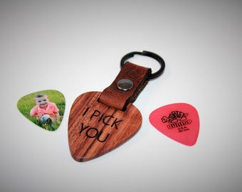 I Pick You - Genuine Wood and Leather Guitar Pick Keychain