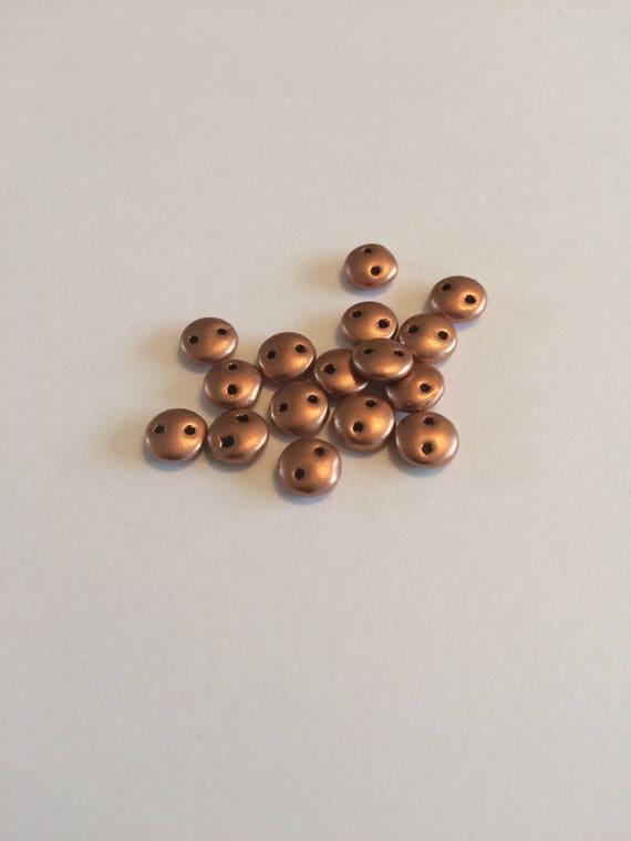 Metallic Copper CzechMates 2 hole 6mm lentil beads 50 pieces