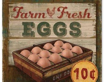 "Metal Sign "" Farm Fresh Eggs Kitchen Decor "" 12""x12"" Kitchen Decor"