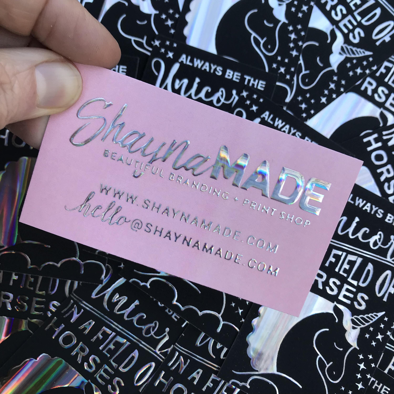 Holographic Business Cards Raised Unicorn Foil Makeup