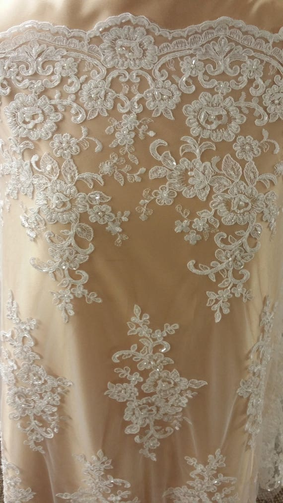 Beaded Ivory Lace Fabric By The Yard Lace To Love