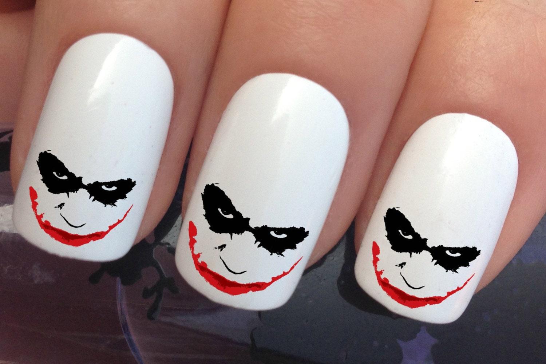 Halloween nail decals 615 joker face wrap water transfers