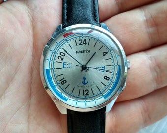 Raketa 24 Hours Vintage Watch, Soviet watch, Men watch, Mechanical watch, rare watch.