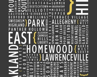Pittsburgh, Pennsylvania Neighborhoods - Typography Print
