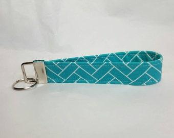 Turquoise brick key fob wristlet keychain