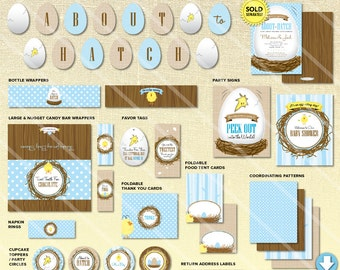 Duck Baby Shower Decorations, About to Hatch Baby Shower Decorations, Boy Baby Shower Decorations Package, Printable Boy Baby Shower Decor