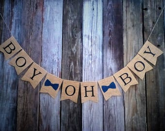 Baby Shower Banner, BOY OH BOY, Burlap Baby Banner, Gender Reveal, Photo Prop, New Baby, Twin Boys, Baby Announcement, Burlap Bunting