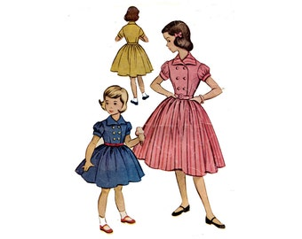 1950s Girls Dress Pattern Double Breasted Puff Sleeve Full Skirt School or Party Dress McCalls 9524 Size 8 Vintage Sewing Pattern