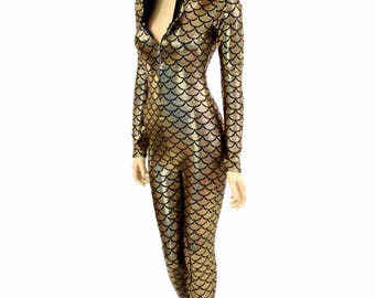 Gold Dragon Scale Zipper Front Long Sleeve Dragon Spike Hooded Catsuit /Black Zen Hood Liner Burning Man - 151337