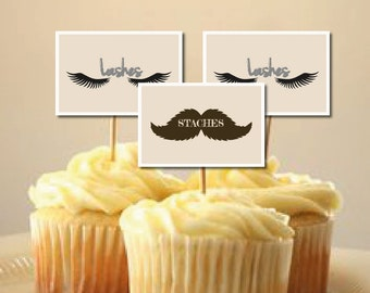 """Baby Gender Reveal Party Staches or Lashes Cupcake Toppers 2-1/4"""" x 1-1/2"""" INSTANT DOWNLOAD"""