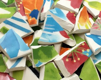 Tropical FLORAL mosaic tiles-70pcs-handcut broken plate-piqueassiette -id*901