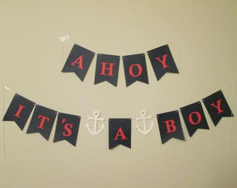 AHOY It's a Boy Baby Banner