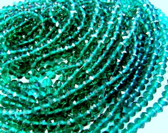 Rondelle Beads, Faceted Crystal Glass, 6mm, Teal, Spacer Beads, 50 Piece, Bead Sale, Jewelry Supply, Bead Supply