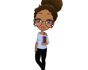 African american planner girl stickers and die cuts afro puff bun hairsytle