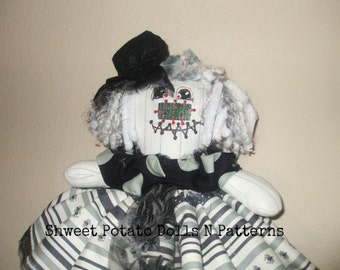 Primitive Raggedy Zombie Ghost Raggedy Cloth Doll  Gothic