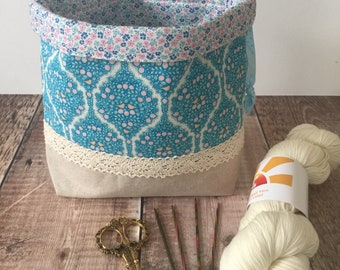 Project bag, Sock knitter's project bag,  Crochet project bag, Knitting project bag, Drawstring bag, Gift for knitters