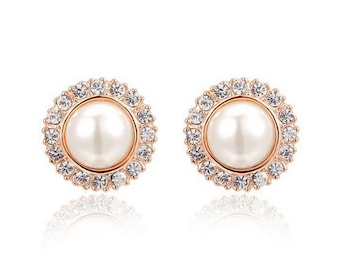 "8g 6g 4g 2g 0g 00g 7/16"" 1/2"" 9/16"" (3mm-14mm) / Rose Gold Pearl Wedding Formal / Plugs Gauges Stretchers Earrings / Stretched Gauged Ears"
