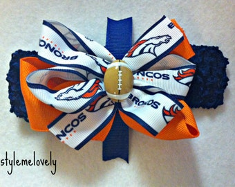 Denver Broncos Baby girl Boutique Bow Crocheted Headband