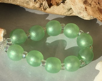 Handmade Lampwork Glass Beads SRA Palest Emerald Shimmering Sea Pearl Rounds (10)