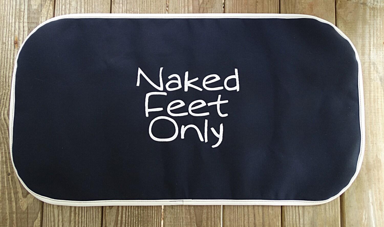 Sunbrella Navy Naked Feet Only Boat Mat Canvas Welcome Mat-4746