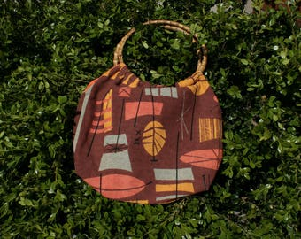Sale Retro 50s MelinaMade Orange Tiki Print Barkcloth Bag Bamboo Handles   Rockabilly Purse   Hawaiian   Gift for Her
