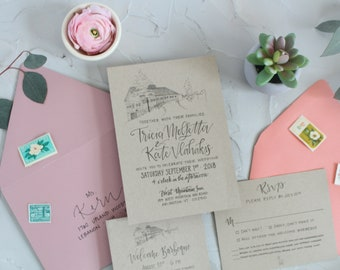 Barn Wedding Invitations . Rustic Barn Invitations . Rustic Wedding Invites . Custom Barn Wedding Invitations