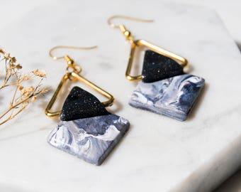Black Marble Adley Drop Earrings
