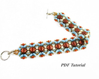"Superduo Beads Tutorial, Bracelet Pattern, Beaded Bracelet Tutorial, DIY Bracelet, Beading Pattern, PDF Pattern, ""Silky and Delicate"""