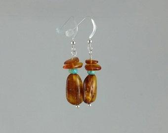 SALE! Amber and Turquoise Earrings. Amber Earrings. Dangle Earrings. Turquoise. Silver.