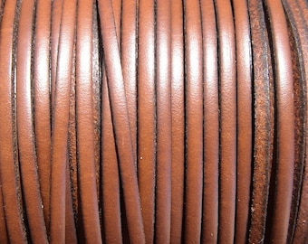 3mm medium brown flat leather cord, 1 yard / meter, High quality Spanish leather cord, leather working cord, string cord, leather Lacing