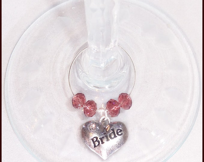 Wedding Wine Glass Charms For Bridal Party Primary Set - 4/pack