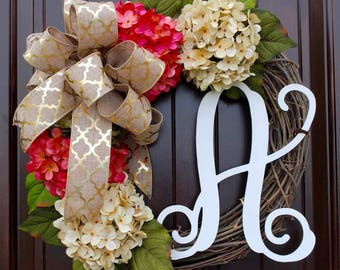 Pink and Cream French Hydrangea Monogram Door Wreath~Customized design~Hand painted Letter~High Quality~Front Door Decor~Mother's Day Gifts