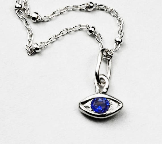 Sterling Silver & Dark Blue Sapphire Eye Necklace