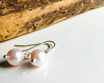 Swarovski Glass Pearl Earrings, Pink Pearl Earrings, Dangle Earrings, Simple Earrings, 10mm Glass Earrings, Silver Plated Earwires
