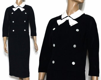 Vintage 1940s Dress// Black Rayon// Original  Montego//White Collar//Neckline Bow//Button Front//Fully Lined//
