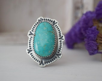 Number 8 Turquoise Ring, Sterling Silver, Handmade jewelry, Stamped Jewelry, Statement Ring, Bohemian, One Of a Kind,