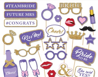 Printable Lavender Purple Bridal Shower Photobooth Props - Wedding Photo Booth Props-Bachelorette Party Props-Bride To Be- Instant Download