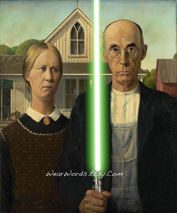 Star Wars JEDI KNIGHT Print Grant Wood American GOTHIC Parody
