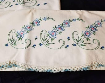 Two Embroidered Blue Flowered Standard Pillowcase